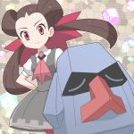 1girl arms_behind_back breasts brown_hair dress gen_3_pokemon grey_dress lins_(kagekusa) long_hair looking_at_viewer nosepass pantyhose pinafore_dress pink_legwear pink_neckwear pokemon pokemon_(game) pokemon_masters red_eyes short_sleeves smile standing tsutsuji_(pokemon) twintails