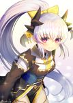 1girl breasts eyebrows_visible_through_hair fate/extra fate/grand_order fate_(series) grey_hair hair_ornament high_ponytail horns japanese_clothes kiyohime_(fate/grand_order) long_hair looking_at_viewer minamo25 open_mouth red_eyes smile solo very_long_hair