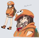 1girl 1other animal animal_hug anklet asaya_minoru bike_shorts brown_hair close-up guilty_gear guilty_gear_strive happy jewelry may_(guilty_gear) otter under_clothes