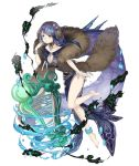 1girl absurdly_long_hair anklet aqua_eyes barefoot bracelet breasts choker collarbone earmuffs earrings eyebrows_visible_through_hair fins full_body fur_scarf harp instrument jewelry ji_no large_breasts long_hair looking_at_viewer official_art purple_hair sinoalice solo transparent_background very_long_hair water