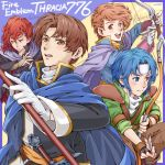 4boys arrow belt blue_eyes blue_hair blush bow_(weapon) brown_eyes brown_hair cape carrion_(fire_emblem) character_name copyright_name fingerless_gloves fire_emblem fire_emblem:_thracia_776 gloves headband ichii_k multiple_boys open_mouth polearm red_eyes redhead robert_(fire_emblem) ronan_(fire_emblem) salem_(fire_emblem) spear sword teeth weapon