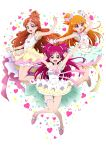 3girls :d absurdres alternate_hair_length alternate_hairstyle arm_up armpits arms_up asahina_mirai blonde_hair blue_eyes blue_skirt bow brown_hair character_name choker collarbone floating_hair full_body go!_princess_precure hair_bow hair_ornament haruno_haruka high_heels highres jewelry layered_skirt long_hair looking_at_viewer mahou_girls_precure! miniskirt multiple_girls necklace niita one_side_up open_mouth outstretched_arm outstretched_arms pink_bow pink_footwear pink_skirt precure pumps red_eyes redhead shiny shiny_hair shirt simple_background skirt sleeveless sleeveless_shirt smile very_long_hair violet_eyes white_background white_bow white_shirt white_skirt wrist_cuffs yellow_skirt yes!_precure_5 yumehara_nozomi