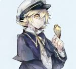 1boy bandages bird bird_on_hand bishounen blonde_hair blue_capelet blue_jacket capelet closed_mouth commentary hand_up hat jacket james_(vocaloid) looking_at_viewer male_focus oliver_(vocaloid) ribbon sailor_hat shirt short_hair smile upper_body vima vocaloid white_shirt yellow_eyes yellow_ribbon
