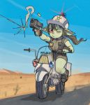aiming belt blush boots breasts brown_hair buttons casing_ejection desert dust_cloud female_goblin fingerless_gloves firing gigawix gloves goblin green_skin ground_vehicle gun hair_blowing handgun helmet large_breasts long_hair motion_blur motor_vehicle motorcycle one_eye_closed original pistol pointy_ears police police_badge police_uniform policewoman red_eyes rivets shell_casing short_sleeves shorts smoke star uniform vest weapon wince