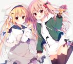 2girls animal_band_legwear animal_ears animal_hat black_legwear blonde_hair blue_sailor_collar blush bow brown_eyes brown_hair bunny_hat capelet cat_band_legwear commentary_request drawstring dress fake_animal_ears food fur-trimmed_capelet fur_trim green_jacket grey_dress hair_bow hair_ornament hairclip hat heart heart_hair_ornament highres holding holding_food holding_hands holding_spoon hood hood_down hoodie huge_filesize interlocked_fingers izumiyuhina jacket long_hair long_sleeves multiple_girls open_clothes open_jacket original rabbit_ears red_bow red_eyes ribbed_dress sailor_collar sleeves_past_wrists spoon thigh-highs twintails very_long_hair white_bow white_capelet white_headwear white_hoodie