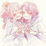 2girls :d ^_^ arm_around_shoulder bang_dream! bangs blush brown_hair closed_eyes grin hair_ribbon heart heart_hands heart_hands_duo hood hood_down hoodie long_hair long_sleeves lowres multiple_girls open_mouth pale_color ponytail redhead ribbon sidelocks smile udagawa_tomoe upper_body usa_(haku1915) yamabuki_saaya yellow_ribbon yuri