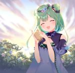 1girl bare_shoulders blue_dress blue_sleeves blush bubble_tea bug butterfly cleavage_cutout closed_eyes cup double_bun dress flat_chest flower frills green_hair hair_flower hair_ornament highres holding holding_cup hololive insect medium_hair nather open_mouth outdoors plant skull_collar uruha_rushia virtual_youtuber wide_sleeves
