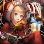1girl :d artist_name blonde_hair blood bone book bow capelet chain christmas christmas_present commentary_request fur_trim gift hair_ornament hair_ribbon highres hood hood_up lf_(paro) little_red_riding_hood_(sinoalice) looking_at_viewer open_mouth orange_eyes ribbon sinoalice sleeves_past_wrists smile solo torture_instruments upper_teeth