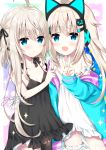 2girls :d ahoge animal_ears asymmetrical_hair bangs bare_arms bare_shoulders black_dress black_ribbon blonde_hair blue_eyes blue_jacket blush breasts cat_ear_headphones cat_ears closed_mouth collarbone commentary_request copyright_request dress eyebrows_visible_through_hair fake_animal_ears frilled_dress frills garter_straps hair_between_eyes hair_ribbon headphones jacket long_hair long_sleeves looking_at_viewer multiple_girls off_shoulder open_clothes open_jacket open_mouth original ribbon signature single_thighhigh sleeveless sleeveless_dress sleeves_past_wrists small_breasts smile sparkle star strap_slip thigh-highs tia-chan uchuuneko v very_long_hair virtual_youtuber white_dress