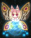 1girl animal_ear_fluff animal_ears animalization bangs blonde_hair blush bug butterfly earth eyebrows_visible_through_hair fox_ears giantess godzilla_(series) hair_between_eyes highres insect kemomimi-chan_(naga_u) long_hair looking_at_viewer mothra naga_u original red_eyes sidelocks solo space sparkle v-shaped_eyebrows