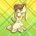 1girl bangs blunt_bangs boots brown_eyes brown_hair closed_mouth clover_hair_ornament dokidoki!_precure double_bun dress eyebrows_visible_through_hair frilled_dress frills full_body gradient gradient_background green_background hair_ornament kneeling looking_at_viewer niita precure shiny shiny_hair short_dress short_hair short_sleeves smile solo white_dress white_footwear yellow_background yotsuba_alice