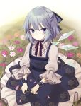 1girl bangs blue_dress blue_eyes blurry blurry_background cirno closed_mouth commentary_request depth_of_field dress eyebrows_visible_through_hair flower frills grass grey_hair hair_between_eyes holding holding_flower ice ice_wings long_sleeves on_grass petals pink_flower puffy_long_sleeves puffy_sleeves purin_jiisan purple_flower shirt sleeveless sleeveless_dress solo touhou white_flower white_shirt wide_sleeves wings