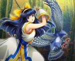 1girl ainu_clothes armpits bird black_hair bow forest hairband hawk highres mamahaha miru_(mill_36) nakoruru nature samurai_spirits talons yellow_bow