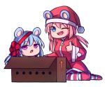 2girls :o ;d alternate_costume animal_ears bear_ears blue_eyes blue_hair box cardboard_box chibi coat commentary directional_arrow english_commentary eyebrows_visible_through_hair eyes_visible_through_hair hat in_box in_container leg_warmers long_hair long_sleeves looking_at_viewer low_twintails multiple_girls nieve_(rabi_ribi) nixie_(rabi_ribi) one_eye_closed open_mouth pink_eyes pink_hair pom_pom_(clothes) rabi-ribi red_coat red_ribbon ribbon santa_costume santa_hat siblings simple_background sisters smile speckticuls striped striped_legwear thigh-highs thumbs_up twintails v-shaped_eyebrows white_background wide_sleeves