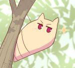 1girl animal_ears animalization blurry blurry_background blush chrysalis_(butterfly) depth_of_field kemomimi-chan_(naga_u) looking_at_viewer naga_u original red_eyes solo sparkle tree_branch v-shaped_eyebrows