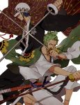 2boys black_hair cape green_hair hat highres japanese_clothes katana kieshi_heta multiple_boys one_piece roronoa_zoro samurai scar sheath simple_background smile sword tattoo tied_hair trafalgar_law unsheathed unsheathing weapon white_background
