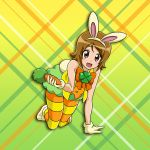 1girl :d all_fours animal_ears brown_eyes brown_hair bunny_tail fake_animal_ears fake_tail full_body gloves gradient gradient_background green_background green_skirt hairband happinesscharge_precure! looking_at_viewer miniskirt niita oomori_yuuko open_mouth orange_neckwear pantyhose precure rabbit_ears shiny shiny_hair short_hair skirt sleeveless smile solo striped striped_legwear tail white_gloves white_hairband yellow_background