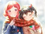 2girls black_hair blue_coat blush bow brown_coat closed_eyes closed_mouth coat hair_bow long_sleeves looking_at_another love_live! love_live!_school_idol_project megumi_cv multiple_girls nishikino_maki plaid plaid_scarf red_bow red_scarf redhead scarf shared_scarf short_hair smile twintails violet_eyes yazawa_nico