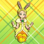 1girl animal_ears blonde_hair bow braided_ponytail full_body futari_wa_precure futari_wa_precure_max_heart green_eyes hair_bow hair_ornament hairclip heart heart_hair_ornament kneeling kujou_hikari legwear_under_shorts long_hair looking_at_viewer niita orange_shorts pantyhose parted_lips ponytail precure purple_bow rabbit_ears shiny shiny_hair short_shorts shorts solo striped striped_legwear very_long_hair wrist_cuffs yellow_background yellow_legwear
