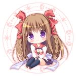 1girl bangs black_legwear blush bow braid brown_footwear brown_hair chibi closed_mouth eyebrows_visible_through_hair full_body hair_between_eyes hair_bow hands_together interlocked_fingers kneehighs loafers long_hair long_sleeves nursery_rhyme own_hands_together pleated_skirt purple_skirt red_bow red_sailor_collar ryuuka_sane sailor_collar shirt shoes sitting skirt sleeves_past_wrists smile solo tomoe_yukina twin_braids very_long_hair violet_eyes white_background white_shirt