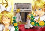 aku_no_musume_(vocaloid) allen_avadonia blonde_hair blue_eyes bow brother_and_sister candelabra candle carpet dress evillious_nendaiki finger_to_mouth fireplace flower gears grin hair_bow highres kagamine_len kagamine_rin kneeling momiji0316 pointing pointing_up riliane_lucifen_d'autriche rose rug shirt short_hair short_ponytail shorts shushing siblings smile sneaking trap_door twins twiright_prank_(vocaloid) vocaloid white_dress yellow_flower yellow_rose