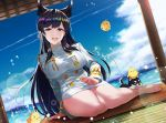 1girl animal_ear_fluff animal_ears atago_(azur_lane) azur_lane bangs bare_legs barefoot black_hair breasts commentary_request dog double-breasted husky jewelry kagiyama_(gen'ei_no_hasha) large_breasts long_hair long_sleeves looking_at_viewer manjuu_(azur_lane) medal military military_uniform ocean open_mouth panties panty_peek puppy ring sidelocks sitting smile solo swept_bangs tatami underwear uniform upper_teeth very_long_hair wedding_band white_panties wolf_ears yellow_eyes yokozuwari
