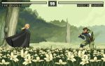 1boy 1girl beard big_boss blonde_hair brown_hair character_name cloak commentary english_commentary facial_hair field fighting_game fighting_stance flower flower_field forest headband health_bar metal_gear_(series) metal_gear_solid_3 military military_uniform naked_snake nature pixel_art spoilers the_boss tom_waterhouse uniform