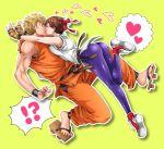 belt black_belt blonde_hair brown_belt dougi headband highres incest kiss leggings miru_(mill_36) ryou_sakazaki ryuuko_no_ken short_hair the_king_of_fighters yuri_sakazaki