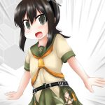 1girl beige_serafuku bell black_eyes black_hair commentary_request cosplay cowboy_shot de_ruyter_(kantai_collection) de_ruyter_(kantai_collection)_(cosplay) fubuki_(kantai_collection) green_sailor_collar green_skirt grey_background kantai_collection long_hair looking_at_viewer low_ponytail neckerchief orange_neckwear ouno_(nounai_disintegration) pleated_skirt ponytail sailor_collar school_uniform serafuku short_ponytail sidelocks skirt solo two-tone_background white_background