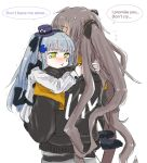 2girls aoi_(aoisaka) armband baby_carry blue_hair blush commentary_request crying crying_with_eyes_open english_text girls_frontline green_eyes grey_hair hat hk416_(girls_frontline) long_hair mini_hat multiple_girls sweatdrop tears twintails ump45_(girls_frontline) younger