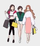 3girls absurdres aerith_gainsborough arm_grab artist_name bag bangs black_footwear black_hair black_pants black_shirt brown_hair capri_pants casual closed_mouth crop_top earrings facing_viewer final_fantasy final_fantasy_vii green_eyes green_jacket grin hair_down high-waist_skirt highres holding jacket jewelry kisaragi_yuu_(fallen_sky) long_hair long_skirt long_sleeves looking_at_viewer midriff multiple_girls no_socks off_shoulder open_clothes open_jacket pants pink_skirt shirt shoes shopping_bag short_shorts shorts signature simple_background skirt sleeveless sleeveless_shirt sleeves_past_wrists smile sneakers standing straight_hair swept_bangs thigh_gap tifa_lockhart toggles wavy_hair white_footwear white_jacket white_shirt white_shorts wide_sleeves yuffie_kisaragi