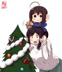 2girls :3 absurdres ahoge alternate_costume artist_logo bangs bauble black_hair blue_eyes blue_hoodie blush box brown_hair candy candy_cane carrying child christmas christmas_ornaments christmas_tree commentary_request dated food gift gift_box hair_ornament highres hood hood_down hoodie kanon_(kurogane_knights) kantai_collection long_sleeves multiple_girls open_mouth red_eyes ribbed_sweater shigure_(kantai_collection) short_hair shoulder_carry simple_background smile star sweater turtleneck turtleneck_sweater white_background white_sweater yamashiro_(kantai_collection) younger