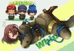 2boys 2girls artist_name blue_hair boots bound brown_hair chibi clark_still closed_eyes highres leona_heidern military military_uniform miru_(mill_36) multiple_boys multiple_girls ralf_jones salute sunglasses the_king_of_fighters tied_up uniform whip whip_(kof)