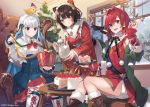 :3 alternate_costume ange_katrina black_hair cake chair christmas christmas_tree commentary eihi food gift heterochromia inui_toko lize_helesta long_hair multicolored_hair nijisanji redhead sebastian_piyodore short_hair sitting smile snowing table teapot virtual_youtuber wa_maid window