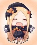 1girl :d ^_^ abigail_williams_(fate/grand_order) bangs black_bow black_dress black_footwear black_headwear blonde_hair bloomers blush bow bug butterfly chibi closed_eyes commentary_request dress eyebrows_visible_through_hair facing_viewer fate/grand_order fate_(series) forehead full_body hair_bow hat insect long_hair long_sleeves nenosame open_mouth orange_bow outstretched_arms parted_bangs polka_dot polka_dot_bow sleeves_past_fingers sleeves_past_wrists smile solo spread_arms standing underwear very_long_hair white_bloomers