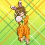 1girl animal_ears bangs barefoot brown_eyes brown_hair eyebrows_visible_through_hair full_body gradient gradient_background green_background heartcatch_precure! holding long_sleeves myoudouin_itsuki niita orange_pants orange_shirt pajamas precure rabbit_ears shiny shiny_hair shirt short_hair sitting soles solo stuffed_animal stuffed_toy yellow_background