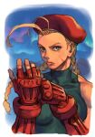 1girl ahoge beret blonde_hair blue_eyes braid cammy_white gauntlets glowing hankuri hat hungry_clicker long_braid long_hair looking_at_viewer portrait red_headwear solo_focus street_fighter tongue tongue_out twin_braids