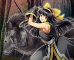 1girl ainu ainu_clothes black_hair bow fingerless_gloves forest gloves hairband highres long_hair miru_(mill_36) murasaki_nakoruru nakoruru nature samurai_spirits shikuru wolf yellow_bow