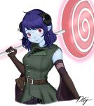 1girl axe bare_shoulders belt blue_hair blue_skin breasts candy coat critical_role draconety dungeons_and_dragons earrings elbow_gloves food gloves hatchet highres holding holding_lollipop holding_weapon hood horn_ornament horns jester_(critical_role) jewelry lips lollipop long_coat looking_at_viewer medium_breasts military_jacket pink_eyes short_hair signature smile solo swirl_lollipop tiefling watermark wavy_hair weapon