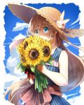 1girl artist_request commentary_request flower hat md5_mismatch shironeko_project straw_hat sunflower tsukimi_(shironeko_project)