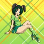1girl :d akimoto_komachi animal_ears arm_support black_hairband blue_eyes collarbone fake_animal_ears full_body gradient gradient_background green_background green_hair green_legwear green_shirt green_skirt hairband kneehighs leaning_back looking_at_viewer miniskirt niita open_mouth pleated_skirt precure rabbit_ears shiny shiny_hair shirt short_hair short_sleeves sitting skirt smile solo wristband yellow_background yes!_precure_5