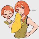 1girl artist_name do_m_kaeru fire_emblem fire_emblem:_three_houses gym_uniform leonie_pinelli orange_eyes orange_hair simple_background sleeveless sweat towel
