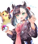 1girl aqua_eyes asymmetrical_bangs asymmetrical_hair bangs black_hair black_jacket black_nails blush breasts choker collarbone commentary_request dress earrings eyebrows_visible_through_hair fangs hair_ribbon highres holding holding_poke_ball jacket jewelry long_sleeves looking_at_viewer mary_(pokemon) morpeko open_clothes pink_dress poke_ball pokemon pokemon_(game) pokemon_swsh red_ribbon ribbon simple_background small_breasts twintails white_background yuutarou_(fukiiincho)