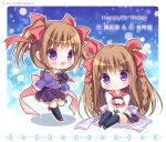 2girls :d bangs black_bow black_legwear black_skirt blue_shirt blush bow braid brown_footwear brown_hair character_name chibi closed_mouth collared_shirt commentary_request eyebrows_visible_through_hair frilled_skirt frills hair_between_eyes hair_bow hands_together happy_birthday interlocked_fingers juliet_sleeves kneehighs loafers long_hair long_sleeves multiple_girls nursery_rhyme open_mouth own_hands_together pleated_skirt puffy_sleeves purple_skirt red_bow red_sailor_collar ryuuka_sane sailor_collar shirt shoes siblings sisters sitting skirt sleeves_past_wrists smile sparkle tomoe_makina tomoe_yukina twin_braids twins twitter_username two_side_up very_long_hair violet_eyes white_shirt