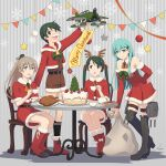 4girls adapted_turret aircraft airplane antlers aqua_eyes aqua_hair bangs black_hair black_legwear blue_eyes boots brown_eyes brown_hair brown_shorts cannon christmas christmas_tree_hair_ornament commentary_request dress fake_facial_hair fake_mustache fur-trimmed_dress fur-trimmed_jacket fur_trim green_hair grey_background hair_ornament hairclip highres hood hooded_jacket hoodie jacket kantai_collection kumano_(kantai_collection) long_hair mikuma_(kantai_collection) mogami_(kantai_collection) multiple_girls nao_(nao_eg) ponytail red_dress red_footwear red_jacket reindeer_antlers short_hair shorts striped striped_background suzuya_(kantai_collection) swept_bangs table thigh-highs thigh_boots toy turret twintails