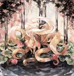 animal brown_eyes flower fox full_body gen_1_pokemon highres in_water lily_pad looking_to_the_side lotus mokunami multiple_tails ninetales no_humans open_mouth pink_flower pokemon pokemon_(game) pokemon_rgby solo standing standing_on_liquid tail