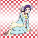 arm_support bell blue_pants blue_shirt brown_footwear checkered checkered_background closed_mouth fur-trimmed_pants fur-trimmed_sleeves fur_trim futari_wa_precure_splash_star horns long_hair long_sleeves looking_at_viewer mishou_mai neck_ribbon niita pants precure purple_hair ribbon shiny shiny_hair shirt sitting smile violet_eyes white_ribbon