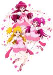 3girls :d absurdres aida_mana aino_megumi back_bow blonde_hair bow character_name dokidoki!_precure floating_hair fresh_precure! full_body hair_ornament happinesscharge_precure! high_heels highres layered_skirt long_hair looking_at_viewer mary_janes miniskirt momozono_love multiple_girls niita one_side_up open_mouth outstretched_arms outstretched_hand pink_ribbon pink_shirt pink_skirt pleated_skirt precure pumps red_bow red_eyes red_footwear redhead ribbon shiny shiny_hair shirt shoes short_sleeves simple_background skirt smile two_side_up very_long_hair white_background white_sleeves wrist_ribbon