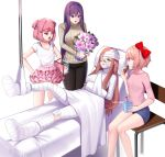 5girls :o artist_name bandaged_arm bandaged_head bandaged_leg bandaged_neck bandages bandaid bandaid_on_nose bangs beige_sweater black_pants blue_eyes blue_shorts bouquet bow box brown_hair cast casual chair chocolate_chip_cookie commentary commission cookie cupcake doki_doki_literature_club eating english_commentary eyebrows_visible_through_hair fang flower food frown green_eyes hair_between_eyes hair_bow hair_down hair_ornament hairclip hands_on_hips highres injury long_hair long_sleeves looking_at_another monika_(doki_doki_literature_club) multiple_girls natsuki_(doki_doki_literature_club) one_eye_covered open_mouth pants pink_eyes pink_hair pink_shirt pink_skirt potetos7 purple_hair reclining red_bow ribbed_sweater sayori_(doki_doki_literature_club) shirt short_hair short_shorts short_sleeves shorts sidelocks simple_background sitting skirt standing sweater turtleneck turtleneck_sweater two_side_up v-shaped_eyebrows very_long_hair violet_eyes watermark white_background white_shirt yuri_(doki_doki_literature_club)