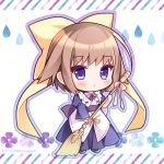1girl :o bangs blue_dress blue_outline blush bow broom brown_hair chibi collared_dress commentary_request copyright_request dress eyebrows_visible_through_hair flower full_body hair_bow holding holding_broom juliet_sleeves long_sleeves looking_at_viewer outline parted_lips pleated_dress puffy_sleeves purple_flower purple_outline ryuuka_sane solo twitter_username violet_eyes water_drop wide_sleeves yellow_bow